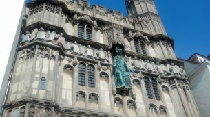 The entrance to the Canterbury Cathedral in the city centre