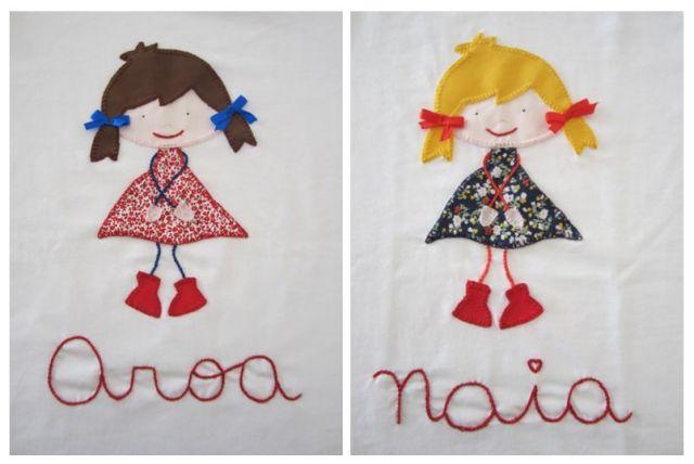 mis nancys, mis peques y yo, aplique camisetas muñequita linda aroa y naia