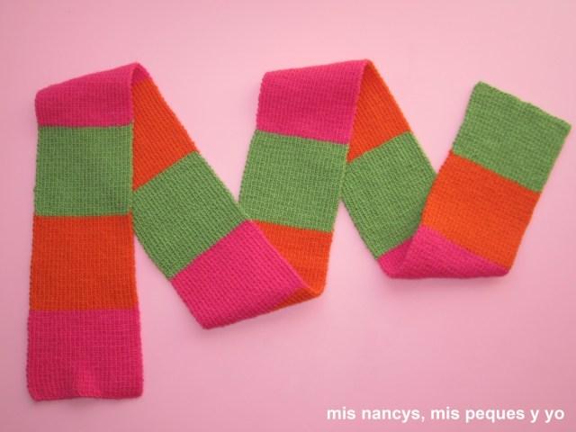 mis nancys, mis peques y yo, tutorial bufanda tricolor niña facil