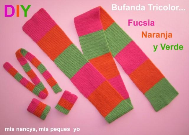 mis nancys, mis peques y yo, tutorial bufanda tricolor niña y nancy