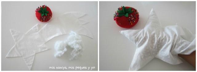 mis nancys, mis peques y yo, tutorial DIY cojín con forma de estrella de Navidad, rellenar estrella