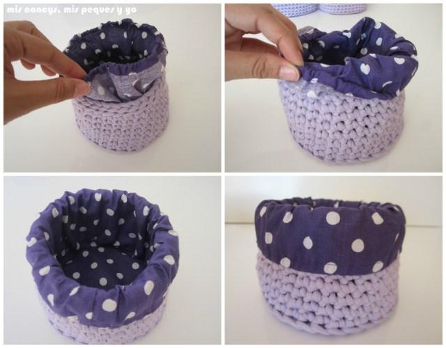mis nancys, mis peques y yo, cestas redondas de trapillo con fundas de tela, goma en el interior del dobladillo
