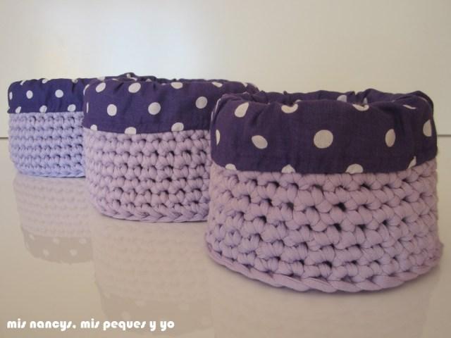 mis nancys, mis peques y yo, cestas redondas de trapillo con fundas de tela, juego de tres cestas de distintos tamaños