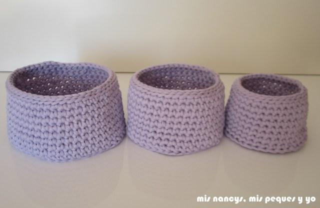 mis nancys, mis peques y yo, cestas redondas de trapillo con fundas de tela, juego de tres cestas