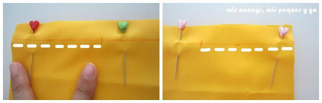 mis nancys, mis peques y yo, tutorial DIY funda de cojín sencilla con cremallera y volante, coser trozo
