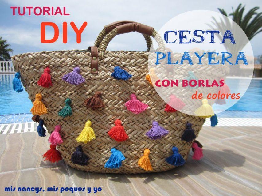 mis nancys, mis peques y yo, tutorial DIY cesta playera con borlas de colores