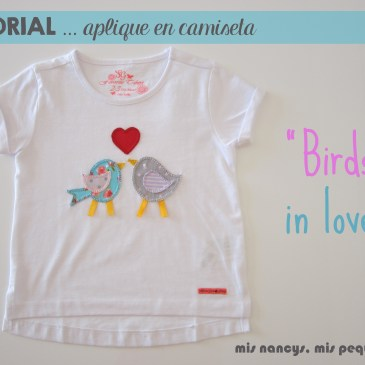 Tutorial aplique en camiseta… «Birds in love»