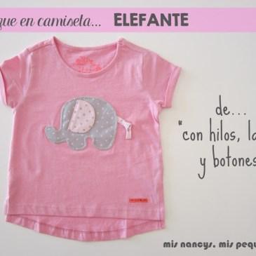 Camiseta con aplique de Elefante de «Con hilos, lanas y botones»