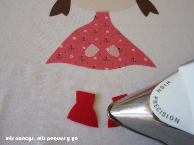 mis nancys, mis peques y yo, tutorial aplique en camiseta muñequita, planchamos sin vapor