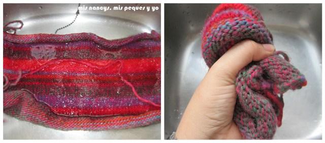 mis nancys, mis peques y yo, Tutorial DIY como bloquear un jersey de lana, sumergir en agua