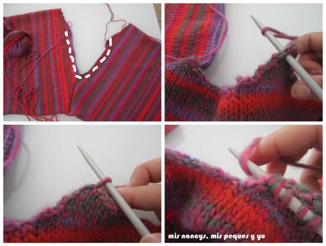 mis nancys, mis peques y yo, Tutorial DIY como coser un jersey de lana, montar puntos sobre el cuello