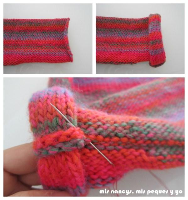 mis nancys, mis peques y yo, Tutorial DIY como coser un jersey de lana, rematar los puños