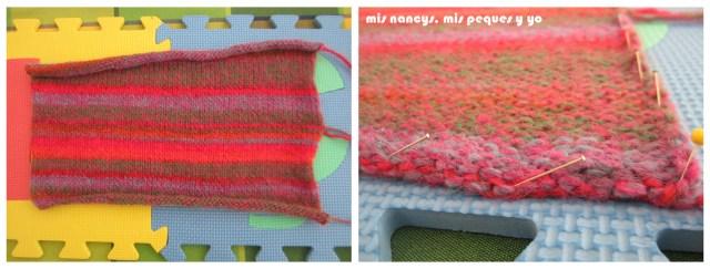 mis nancys, mis peques y yo, Tutorial DIY como bloquear un jersey de lana, sujetar con alfileres