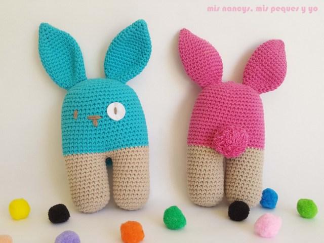 mis nancys, mis peques y yo, conejo bípedo amigurumi, pareja de conejos