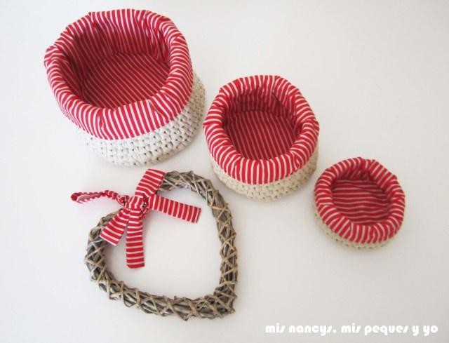 mis nancys, mis peques y yo, juego de tres cestas de trapillo redondas con fundas de tela