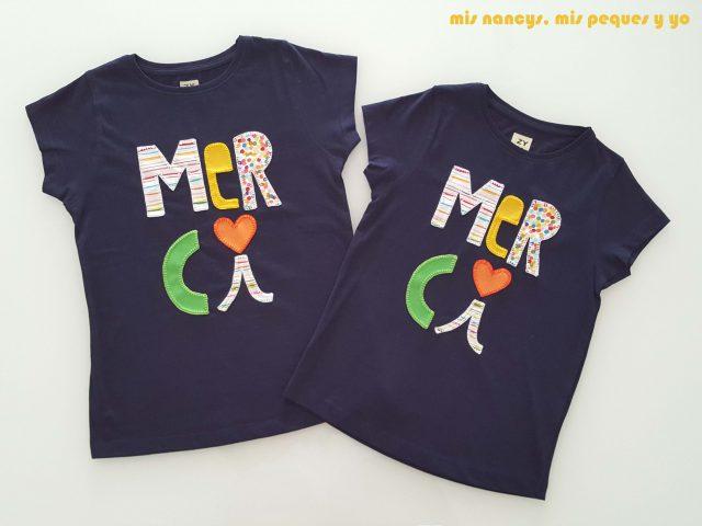 mis nancys, mis peques y yo, tutorial aplique en camiseta merci, dos camisetas terminadas
