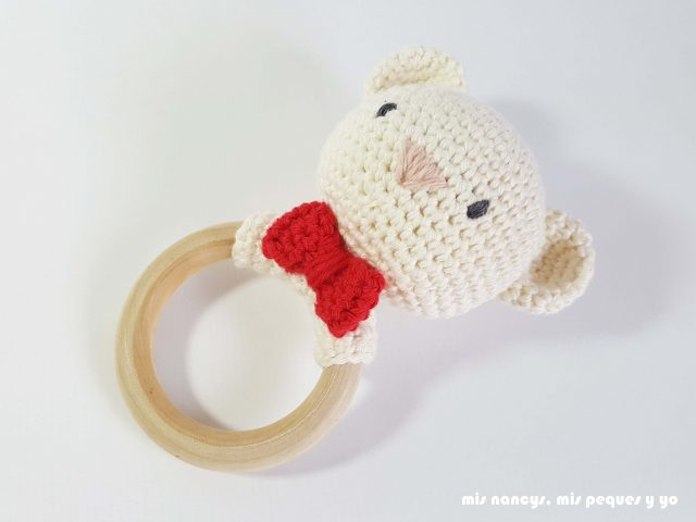 Sonajero mordedor amigurumi : Osito y Conejita - mis nancys mis ...