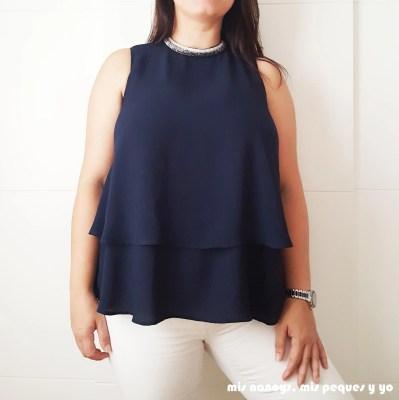 mis nancys, mis peques y yo, blusa de doble capa para mujer, azul marino con tira de abalorios