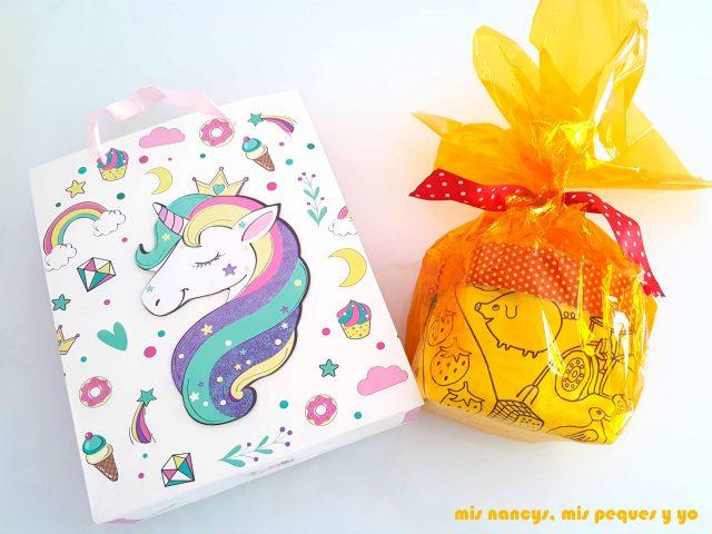 mis nancys, mis peques y yo, cestas de tela reversibles, cesta preparada para regalar, con packaging bonito