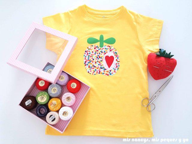 mis nancys, mis peques y yo, tutorial como personalizar camisetas, aplique de manzana, coger hilos que combinen