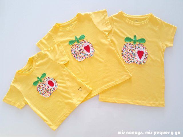 mis nancys, mis peques y yo, tutorial como personalizar camisetas, aplique de manzana, tres camisetas a juego