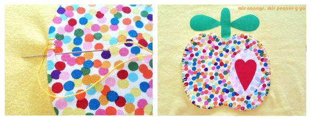 mis nancys, mis peques y yo, tutorial como personalizar camisetas, aplique de manzana, coser punto feston contorno manzana