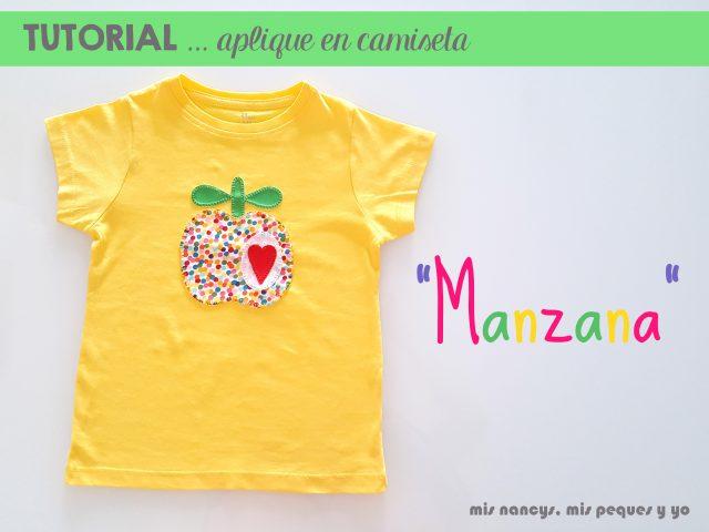 mis nancys, mis peques y yo, tutorial como personalizar camisetas, aplique de manzana