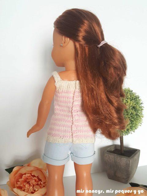 """mis nancys, mis peques y yo, tutorial jersey de punto para Nancy """"Fresa y nata"""", detalle jersey por detras"""
