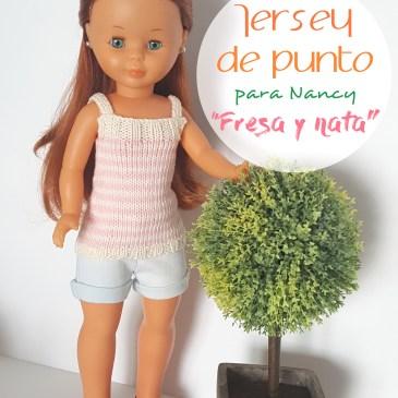 Tutorial jersey de punto para Nancy «Fresa y nata» (patrón gratis)