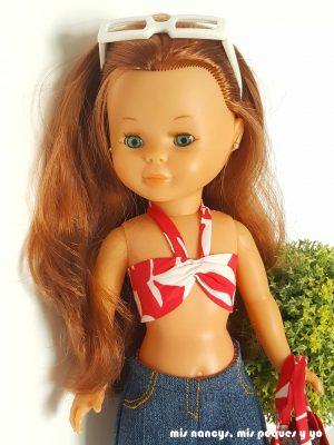 mis nancys, mis peques y yo, tutorial pantalón corto para Nancy, modelo short vaquero deshilachado, coser pespunte tapeta