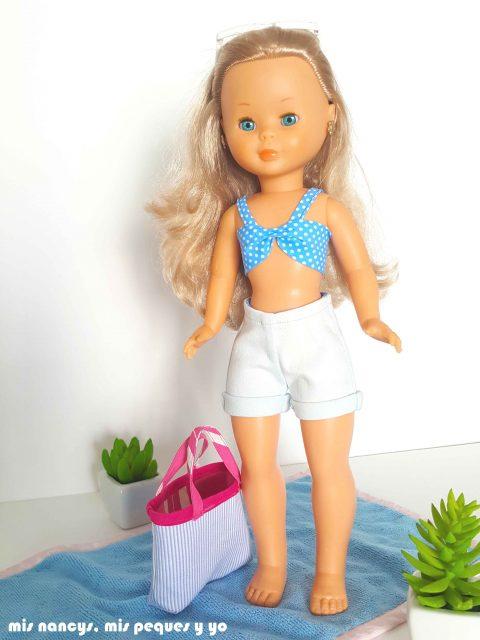 mis nancys, mis peques y yo, tutorial pantalón corto para Nancy, modelo short vaquero con dobladillo