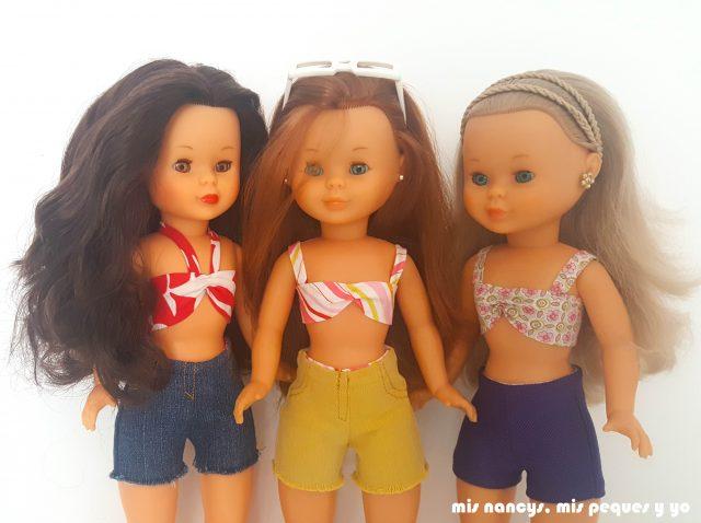 mis nancys, mis peques y yo, tutorial pantalón corto para Nancy, un patrón gratuito 3 modelos diferentes