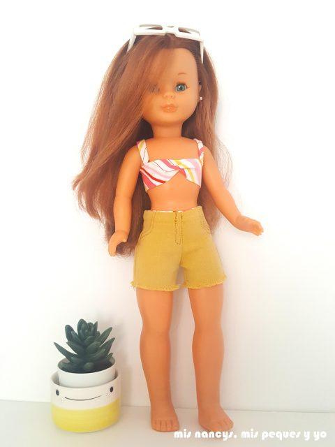 mis nancys, mis peques y yo, tutorial pantalón corto para Nancy, modelo short vaquero de color deshilachado