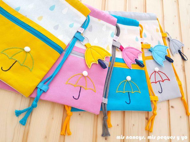 mis nancys, mis peques y yo, mochilas de tela infantiles, mochilas con bolsillo y cordones en varios colores