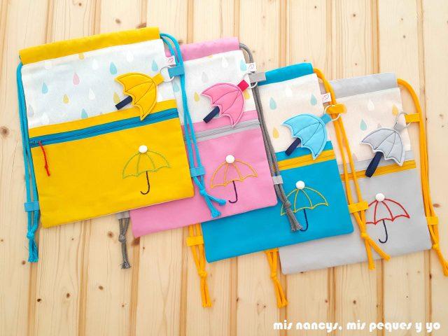 mis nancys, mis peques y yo, mochilas de tela infantiles, colores disponibles: amarillo, rosa, azul y gris perla