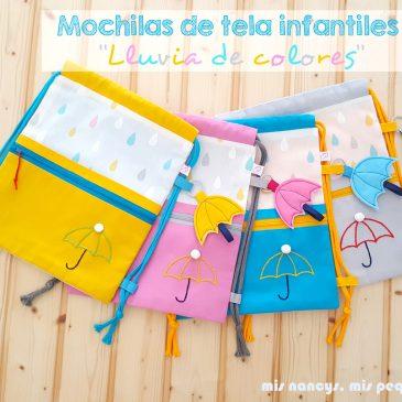 Mochilas de tela infantiles «Lluvia de colores»