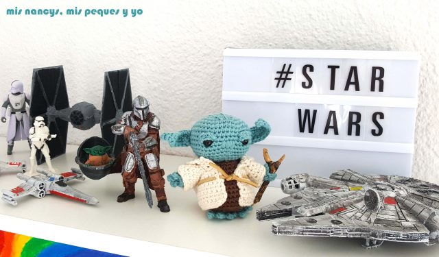 mis nancys, mis peques y yo, Yoda amigurumi, estantería con figuras de Star Wars