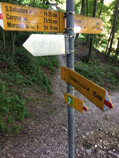 Wife and I trekked up San Salvatore (a metaphor of signposts))