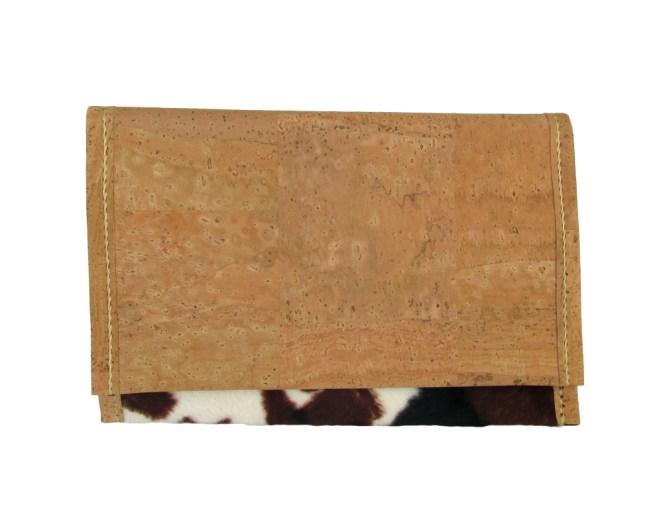 Hand stitched cork and faux cow fur fabric clutch with cork lining. by misp (400) https://www.etsy.com/listing/211404761/