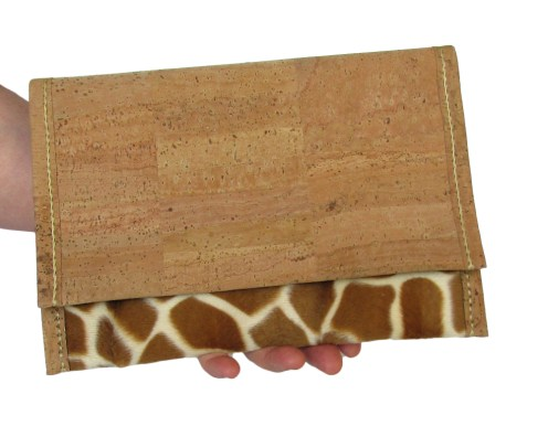 Hand stitched cork and faux giraffe fur fabric clutch with cork lining. by misp (401) https://www.etsy.com/listing/211422211/