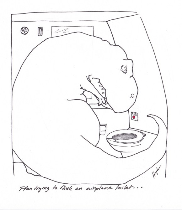 """T-Rex trying to flush an airplane toilet"" by Hugh Murphy"