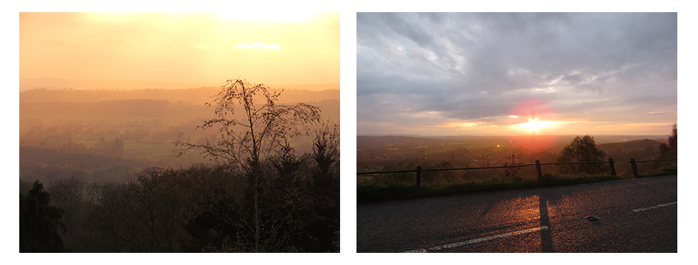 Views of sunset over the Malvern Hills, England.