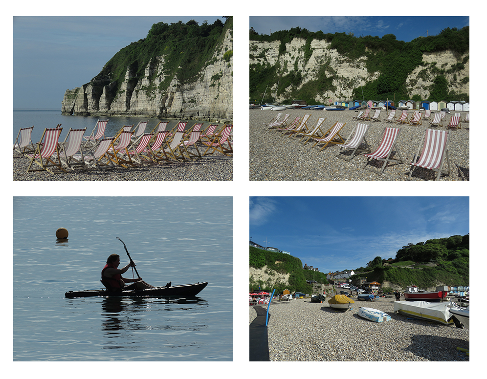 A collection of photographs showing beautiful weather at Beer Beach, Devon.