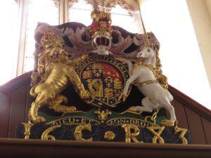 Coat of arms of Charles II, St. Nicholas Church, Trellech