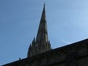 Salisbury Cathedral and pigeon