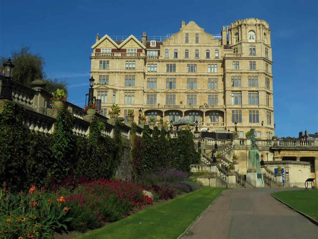 Parade Gardens and former Empire Hotel, Bath, England
