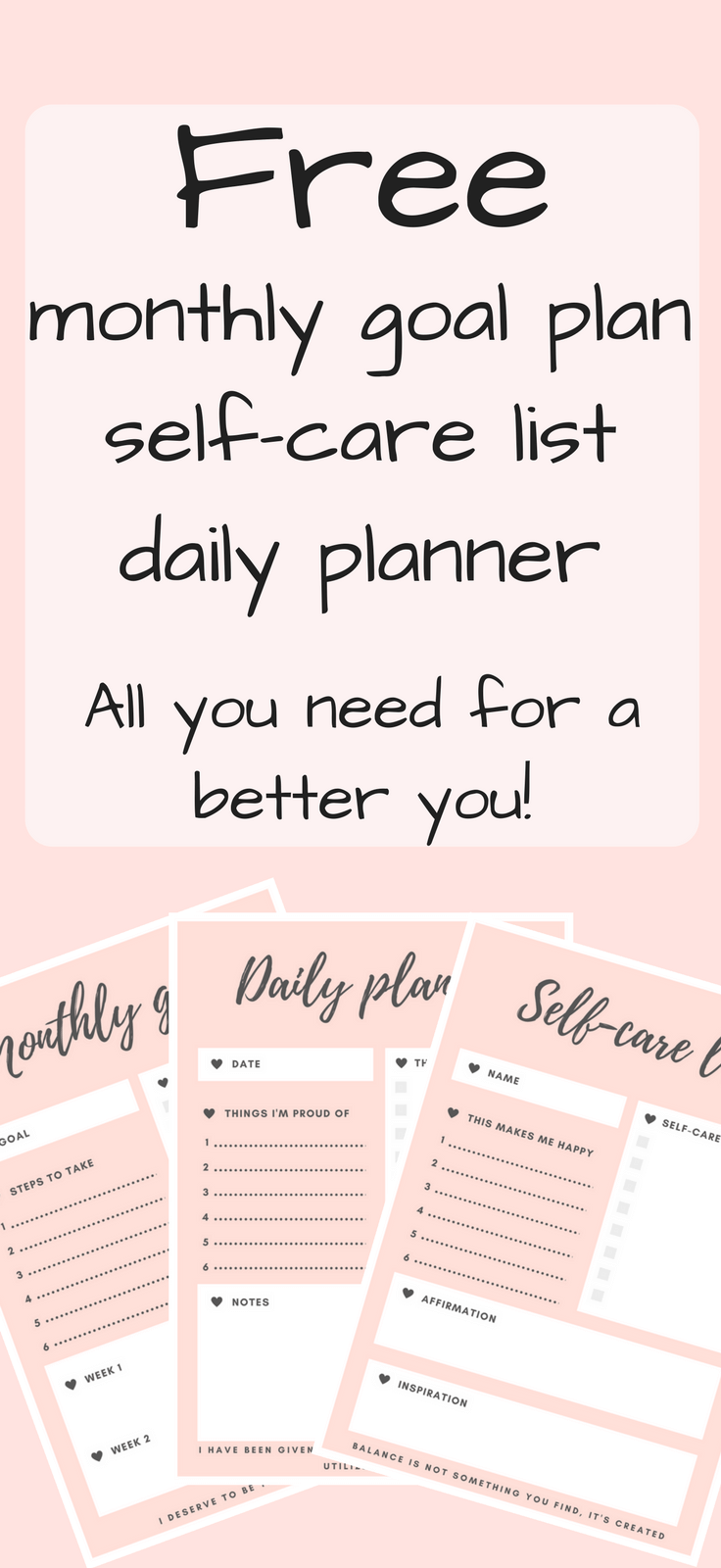 picture regarding Printable Self Care Plan referred to as Free of charge printable planners for a Greater Yourself - Overlook Psychological