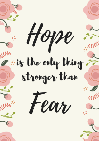free printable wall decor quotes, quote hope is the only thing stronger than fear, wall art, home decor at miss mental #free #printable #mentalhealth #quotes