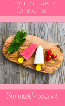 Coconut strawberry popsicle and coconut lime popsicles | vegan and healthy, made with bio ingredients | Perfect icecream for the summer. Paleo, gluten free. Foodie, homemade, fresh ingredients. mint, maplesyrup, lime, vanilla, #popsicles #food #foodie #vegan #healthy #health #icecream
