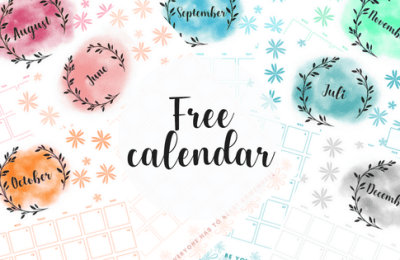 Free calendar printable. monthly planner, watercolor